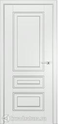 Межкомнатная дверь Эмилия 3 ГЛ Эмаль белая патина серебро