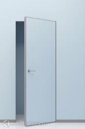 Скрытая дверь невидимка Invisible под покраску с алюминиевой матовой кромкой