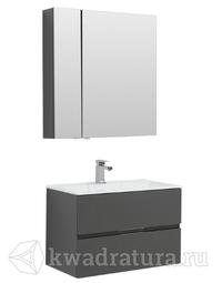 Комплект мебели для ванной Aquanet Алвита 80 серый антрацит