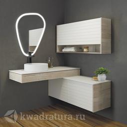 Угловой комплект мебели для ванной Comforty Клеон 120 дуб дымчатый L/R