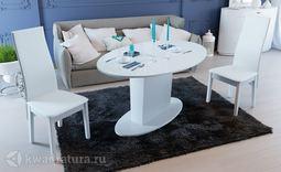 Стол обеденный Марсель круглый Белый глянец