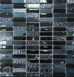 Мозаика стеклянная c камнем Bonaparte Super Line (black) 30х30