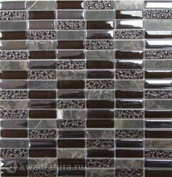 Мозаика стеклянная c камнем Bonaparte Super Line (brown) 30х30