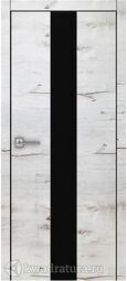 Межкомнатная дверь Royal 3 Дуб Арктика стекло черное